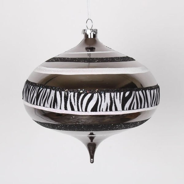 "Diva Safari Zebra Print & Stripes Black and White Commercial Christmas Onion Ornament 8"" (200mm)"