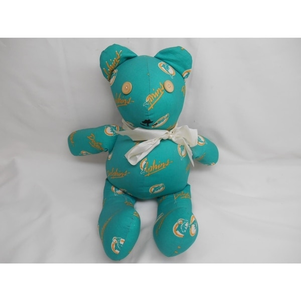 Shop Old Vtg Miami Dolphins Plush Stuffed Teddy Bear Button Eyes Nfl