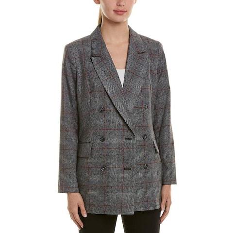 CeCe Women's Blazer Suit Black Size 6 Career Plaid Button Front