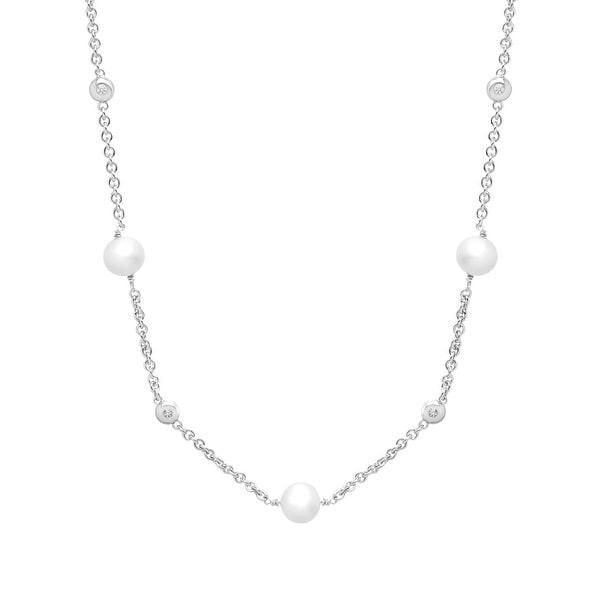 1/6 ct Diamond and Freshwater Pearl Station Necklace in Sterling Silver