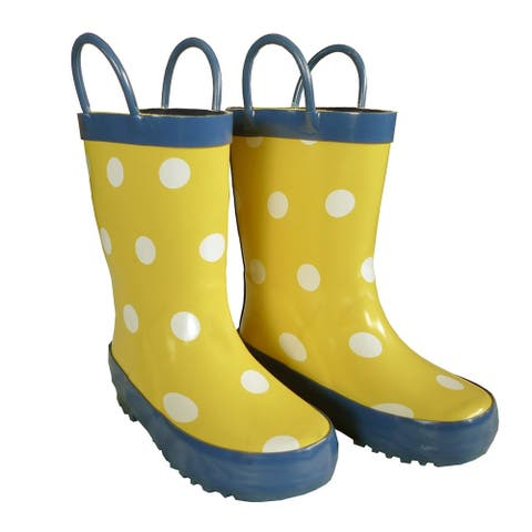 Yellow Polka Dots Boys Girls Rain Boots 11-3