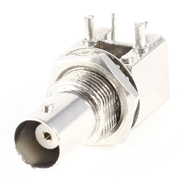 Unique Bargains Right Angle PCB Mount RF Coaxial Connector BNC Female Bulkhead Jack Silver Tone