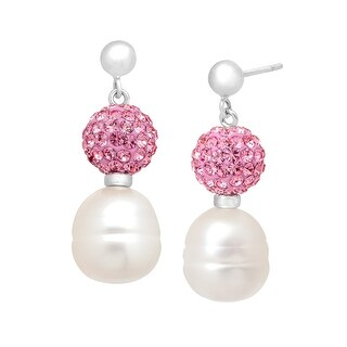 Freshwater Pearl Drop Earrings with Pink Swarovski elements Crystals in Sterling Silver