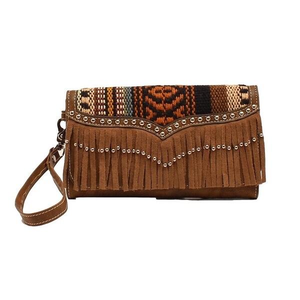 Blazin Roxx Western Wallet Womens Clutch Fabric Pockets Brown - 7 1/2 x 4