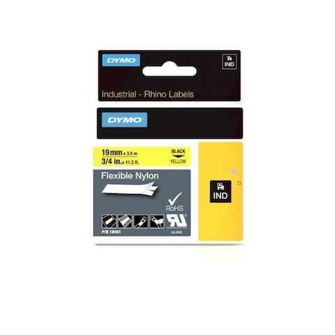 Dymo 18491 rhino 3/4in x 11.5ft, yellow flexible nylon labels
