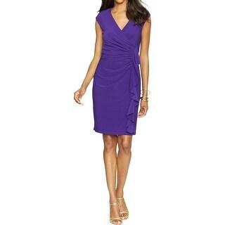 American Living Womens Plus Cocktail Dress Ruffled Surplice
