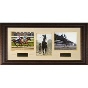 American Pharoah unsigned 3 Photo Triple Crown Custom Leather Framed 41x19 Horizontal KY DerbyPre