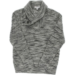 Calvin Klein Mens Textured Marled Shawl-Collar Sweater