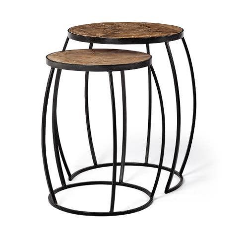 Mercana Clapp III 20 x 26 Set of Two Round Top Wooden and Black Metal Frame Nesting Accent Tables - 20.0L x 20.1W x 26.0H