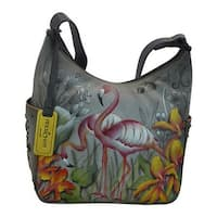 Anuschka Women's Classic Hobo With Studded Side Pockets Flamboyant Flamingos - us women's one size (size none)