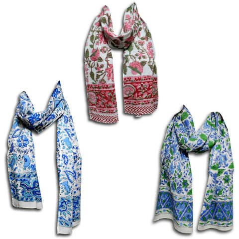 Large Cotton Scarfs for Women Lightweight Soft Sheer Neck Scarf Head Scarf Block Print Summer Floral Scarf Bandanas for Women