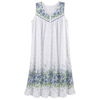 Women's Blue Wildflowers Nightgown - Flowing Pajama Top