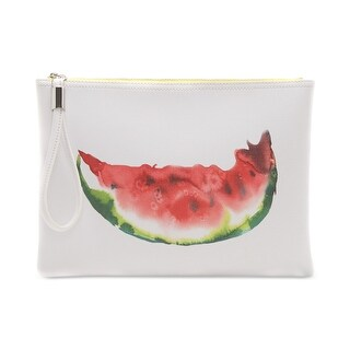 Vince Camuto White Watermelon Print Medium PVC Pouch Clutch Bag