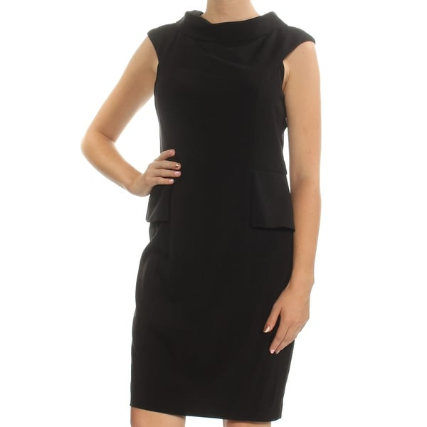 Shop Womens Black Cap Sleeve Knee Length Peplum Dress Size 10