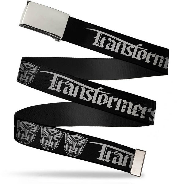 Blank Chrome Buckle Transformers Old English Autobot Black Gray Web Belt - S