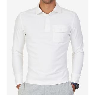 Nautica NEW White Ivory Mens Size Medium M Pocket Polo Rugby Shirt