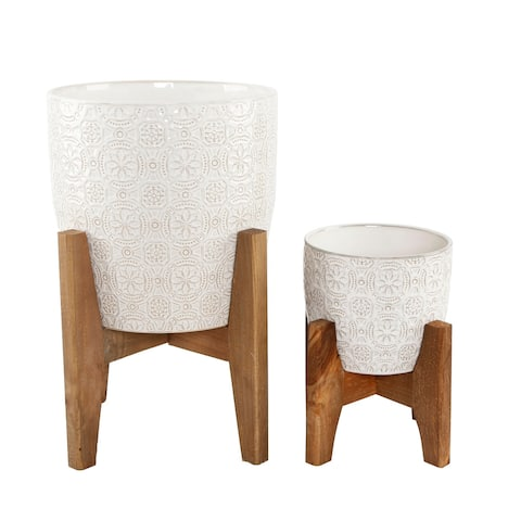 """Mid-Century 10"""" & 6.6"""" Cathedral Ceramic planter on Stand  SET OF 2"""