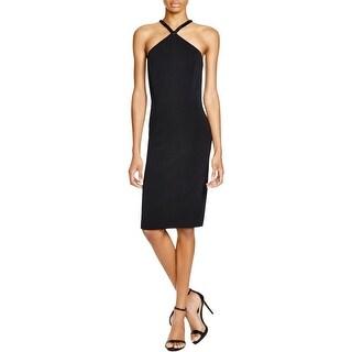 Carmen Marc Valvo Womens Cocktail Dress Embellished Halter