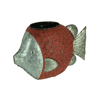 Rustic Red Metal Fish Shaped Planter or Vase - 9 X 13.5 X 4.75 inches