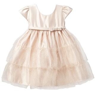 Sweet Kids Gold Satin Tier Christmas Holiday Dress Little Girl 4-12