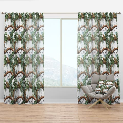 Designart 'Leopard Resting on Brench Watercolor' Animals Curtain Panel