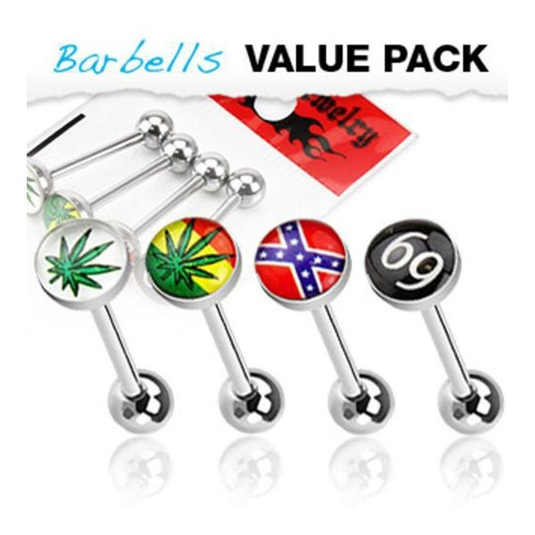 4 Pcs Pack of Assorted Logo Surgical Steel Barbell with Epoxy Dome Ball - 14 GA