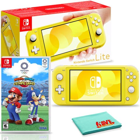 Nintendo Switch Lite (Yellow) Includes Mario and Sonic at the Olympic - Black