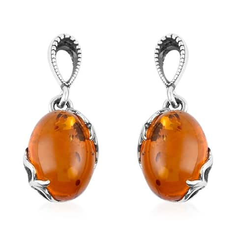 Shop LC 925 Sterling Silver Amber Dangle Drop Elegant Earrings