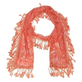 """Women's Sheer Lace Scarf With Fringe - Coral - 70"""" x 11"""""""