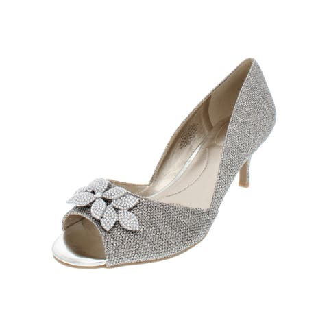 Bandolino Womens Niella Evening Heels Metallic Peep-Toe