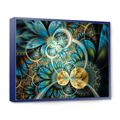 Designart 'Symmetrical Blue Gold Fractal Flower' Abstract Print On Framed Canvas