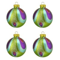 "4ct Green  Blue and Purple Peacock Design Glass Ball Christmas Ornaments 2.5"" (65mm)"