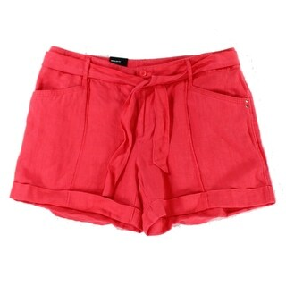 INC NEW Coral Pink Women's Size 10 Self Tie Blended Linen Shorts