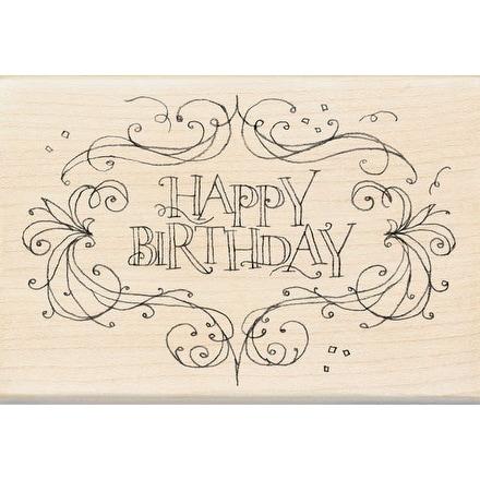 "Inkadinkado Mounted Rubber Stamp 4""X2.75""-Happy Birthday Flourish Frame"