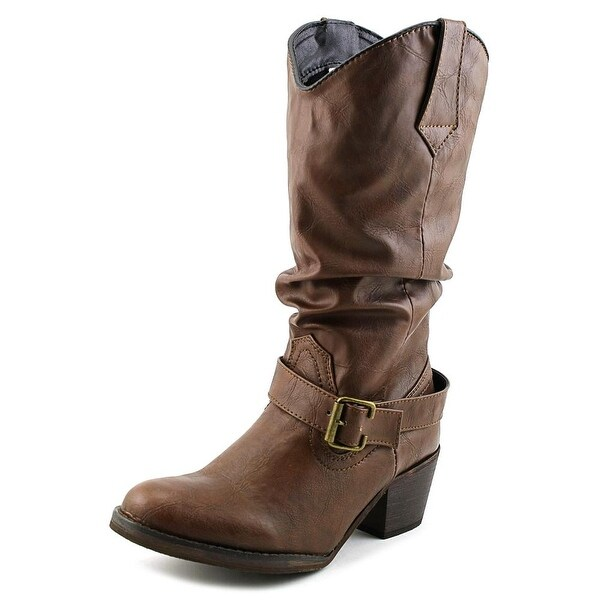Dingo LAD 12'' Slouch w/ Strap Women Round Toe Leather Brown Boot
