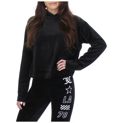 Juicy Couture Black Label Womens Sweatshirt Velour Cropped