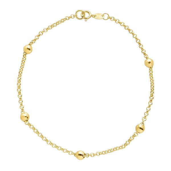 Just Gold Beaded Shimmer Rolo Chain Bracelet in 10K Gold