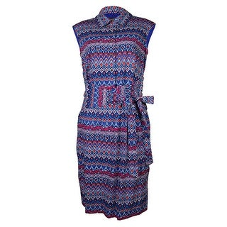 Ellen Tracy Women's Belted Sleeveless Cotton Sheath Dress - Blue Multi
