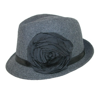 Something Special Women's Wool Fedora with Flower - Grey - One size