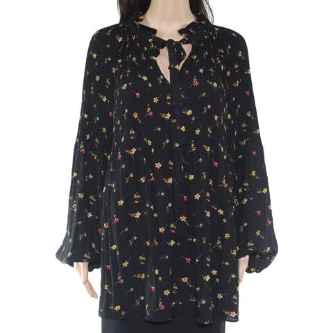 Lauren by Ralph Lauren Womens Blouse Black Size 2X Plus Pleated Ditsy