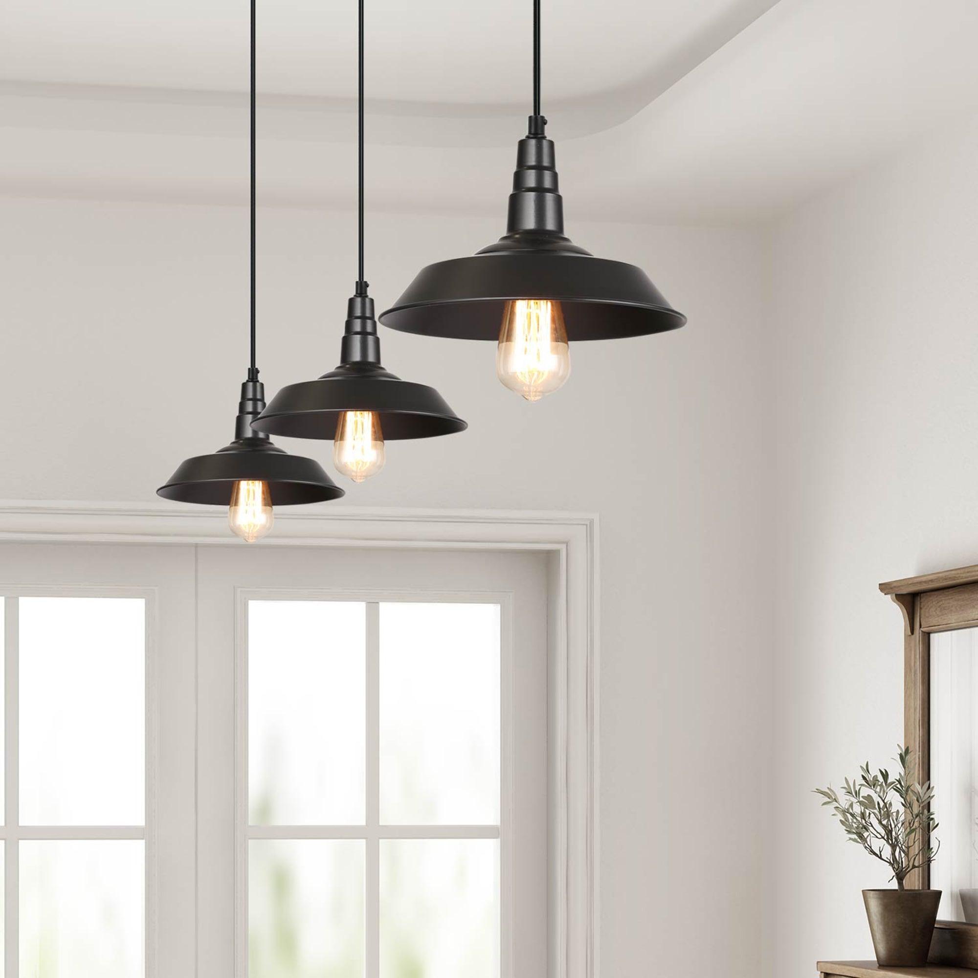 Modern Farmhouse 3 Pack Black Barn Pendant Lighting Warehouse Ceiling Lighting D10 2 X 6 5 On Sale Overstock 27744459