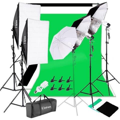 3 Color Backdrop Fabric Photo Studio Softbox Sets Continuous Umbrella Light Stand with Portable Bag - 2m*3m