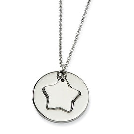 Chisel Stainless Steel Polished Star & Star Cutout 18 Inch Necklace (1 mm) - 18 in