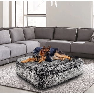 Bessie and Barnie Midnight Frost Ultra Plush Faux Fur Luxury Shag Durable Sicilian Rectangle Pet/Dog Bed