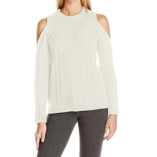 Vince Camuto NEW White Women Size Large L Cold Shoulder Crewneck Sweater