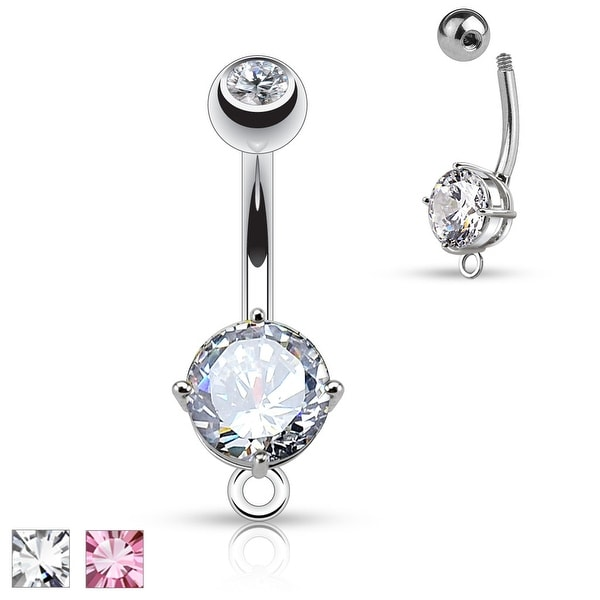 Round CZ Prong with O-Ring for Add on Dangles Surgical Steel Navel Ring - 14GA (Sold Ind.)