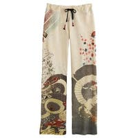 Women's Asian Print Lounge Pants -Japanese Umbrellas (Cream)