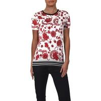 Lauren Ralph Lauren Womens Graphic T-Shirt Stripe Contrast Hem