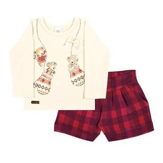 Baby Girl Outfit Long Sleeve Shirt and Plaid Shorts Set Pulla Bulla 3-12 Months