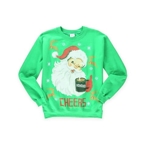 Gildan Mens Cheers Santa Sweatshirt, Green, Small